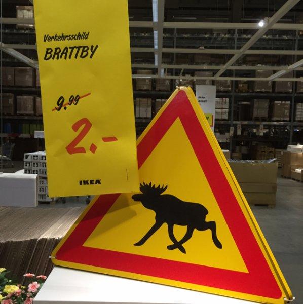 2,00€ Blechschild Verkehrsschild Elch [Ikea Düsseldorf]