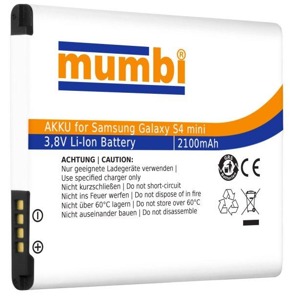 [Amazon Blitzangebot] mumbi Ersatzakku für Samsung Galaxy S4 mini, 2100 mAh, ohne NFC für 9,99€