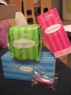 Mädchenkram Testpack mit Tampon, Slipeinlage und Binde