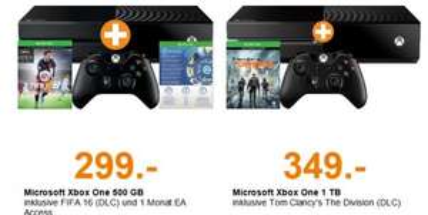 Xbox One 500GB + Fifa 16 (DLC) + 1 Monat EA Access für 299€ (309 nach DE) od. 349€ (359€ nach DE) mit Division 1TB Version @SaturnAT