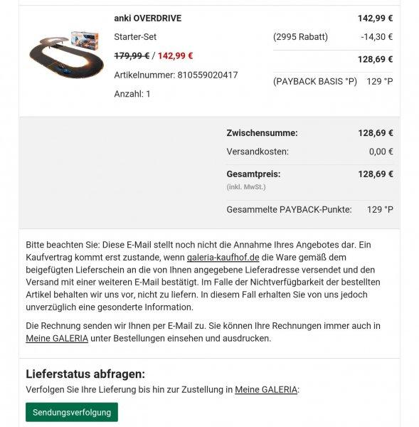 [Galeria Kaufhof] Anki Overdrive für 128,69 mit 10% Newsletter Rabatt