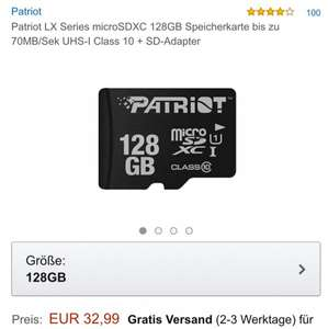 Patriot LX Series microSDXC 128GB PVG 46,40€