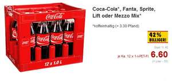 Coca Cola verschiedene Sorten 12 x 1,0 l nur 6,60 € im Kaufland Friedberg/Augsburg/Königsbrunn