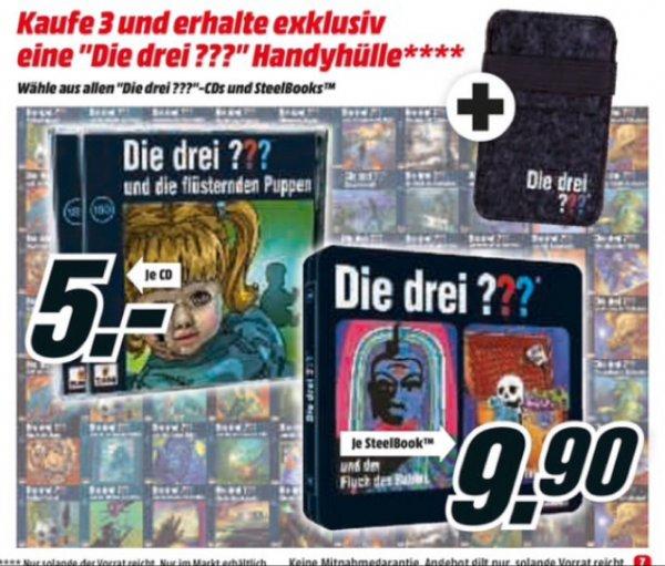 [Media Markt + Amazon (eingeschränkt)] Die drei Fragezeichen ??? - ALLE Folgen je nur 5€ / Steelbooks 9,90€ / ab 3 Stück ???-Handyhülle gratis
