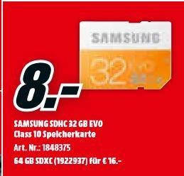 [Mediamarkt] Samsung Speicherkarte SDXC 64GB GB EVO UHS-I Grade 1,Class 10 für Foto und Video Kameras (bis zu 48MB/s Transfergeschwindigkeit) für 16,-€ oder 32 GB für 8,-€
