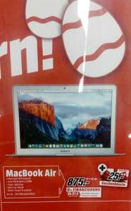 [Bundesweit] [Mediamarkt] Apple Macbook Air MJVE2D/A + 25€ Gutschein