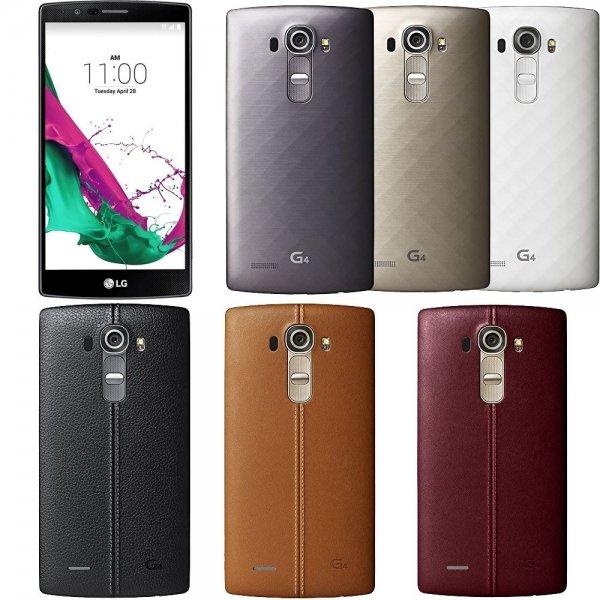 Abgelaufen: LG G4 H815 LTE 32GB (5,5'' QHD IPS, Snapdragon 808 Hexacore, 3GB RAM, 32GB intern, 16MP + 8MP Kamera, 3000 mAh mit Quickcharge wechselbar für 339,-€