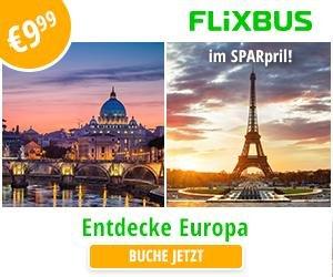 Flixbus: 9,99€ Tickets um Europa zu entdecken! Buchungszeitraum: 17.03.2016 - 22.03.2016