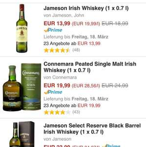 (Amazon) Irish Whiskys zB Jameson