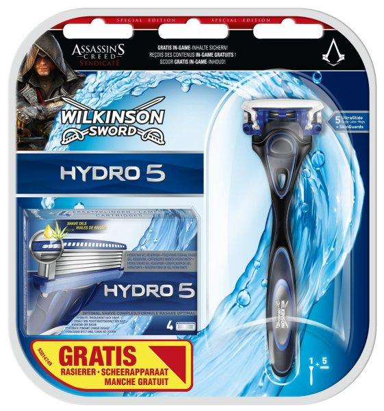 Wilkinson Sword Hydro 5 Vorteilspack, 5 Klingen plus Rasierer, Assassin's Creed Edition