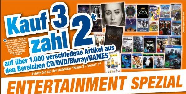 [LOKAL] Octomedia Rastatt und Bühl Kauf 3 zahl 2 auf über 1000 Artikel aus Games, CD/DVD/Blu-Ray
