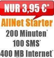 Klarmobil Vodafone Allnet Starter: 200 Freiminuten | 100 Frei-SMS | 400 MB für 3,95€ / Monat