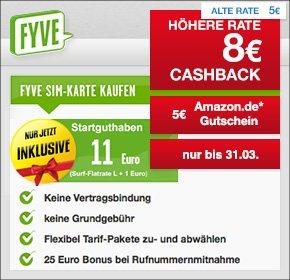 FYVE mit 8€ Cashback + 5€ Amazon Gutschein + Qipu Osterei für das 9,95€ Startpaket mit Surf-Flat im Wert von 10 € + 1 € Startguthaben