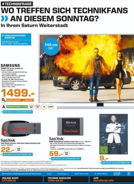 [Lokal] Saturn Weiterstadt - Verkaufsoffener Sonntag- Angebote UE55JS8090, Spectre, Sandisk SSD Plus