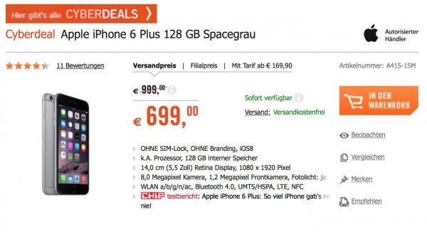iPhone 6 Plus 128GB - 699 € - Cyberport CyberDeals
