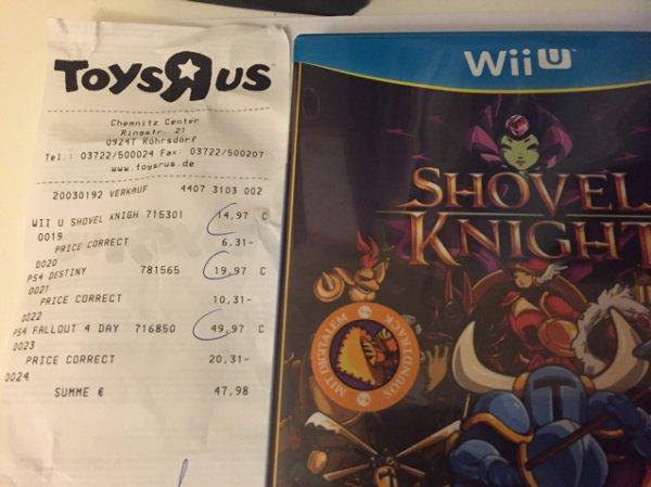 [Lokal Toysrus Chemnitz Center] Shovel Knight WiiU für 8,66€