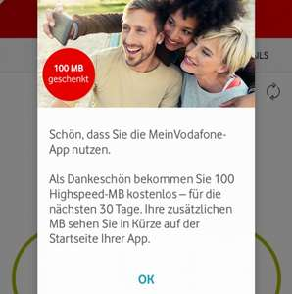 Vodafone 100 MB geschenkt durch VF App Nutzung