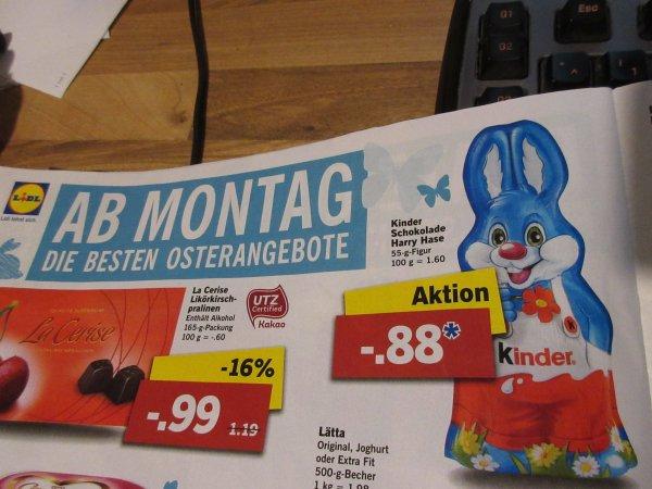 Lidl - kinderschokolade Harry Hase 0,88 Euro Kinder Schokolade