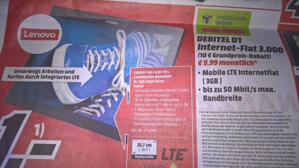 D1 3GB LTE Datentarif MD incl. Lenovo Tab 2 A10-30 LTE @ Mediamarkt Rheine und Online(dann + 49,94€)€