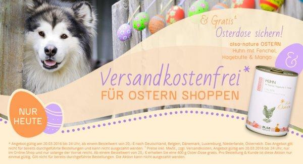 Gratis 400g Hunde Dosenmenü von ALSA-Hundewelt / Versandkostenfrei-Aktion am Sonntag, 20. März