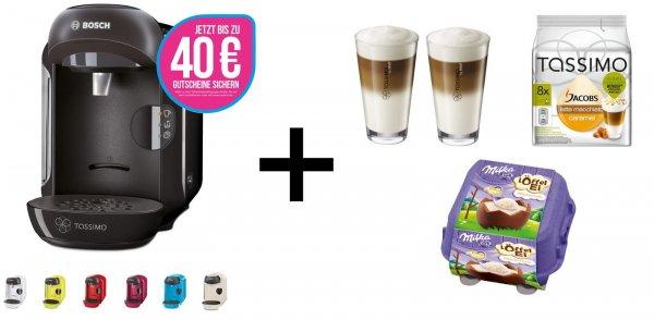 @eBay Bosch TASSIMO VIVY + 40 EUR Gutscheine* + T Discs + WMF Gläser + Milka Löffelei 49,99