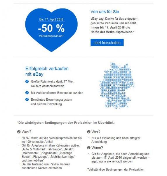 Ebay - Sonderaktion nur auf Einladung - 50 % Rabatt auf die Verkaufsprovision für bis zu 100 verkaufte Artikel