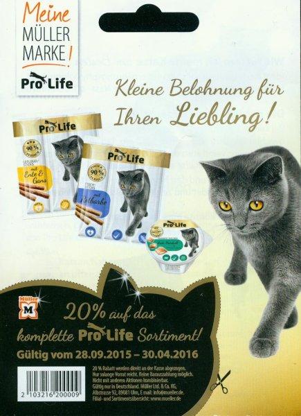 [Bundesweit, Müller] KW12: ProLife Katzen-Sticks -44% & -Nassnahrung -34% (Angebot + Coupon)