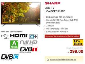 [Kaufland] ab 21.03.2016: 43er LED-TV Sharp Aquos LC-43CFE5100E für 299 € + Alternativangebot im REAL-Onlineshop