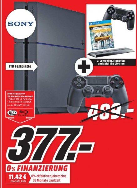 [Lokal Mediamarkt Schleswig/Flensburg) Playstation4 mit 1TB inkl. 2 Controller,Vertikalen Standfuß u. The Division für 377,-€