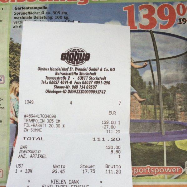 Sportspower Gartentrampolin 305cm [Globus Stockstadt]