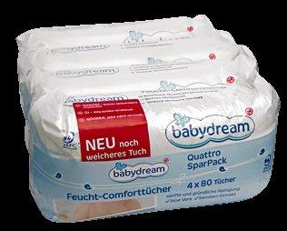 babydream  Feucht-Comforttücher Quattro Spar Pack 320 Stück