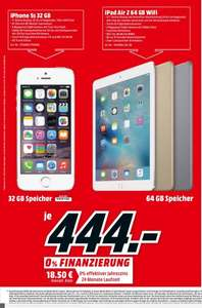 [Lokal Berlin] iPad Air2 64 gb wifi in allen Farben für 444 € bei Mediamarkt