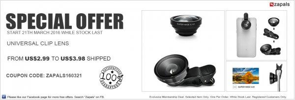 [Zapals] 3 in 1 Clip-Linsen für Smartphone/Tablet-Kameras - Fisheye, Weitwinkel, Macro ab 2,65 €