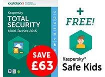 [Kaspersky] Kaspersky Total Security - Multi Device 2016 (5 Geräte, alle Plattformen, 1 Jahr) für 2,54€