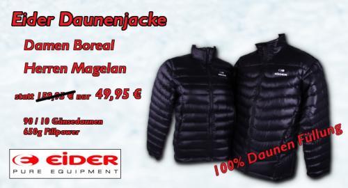 Eider Daunenjacke Jacke in schwarz mit echten Daunen für Damen und Herren 49,95 € inkl. Versand