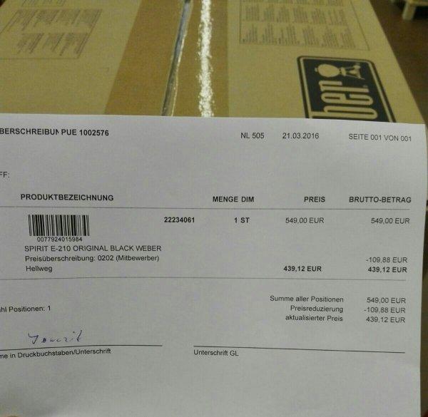 Weber E 210 Orginal für 439,12€