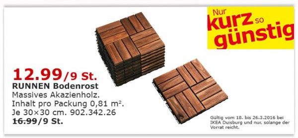 [Lokal Ikea Duisburg] 9 Holzfliesen / Bodenrost RUNNEN außen braun lasiert