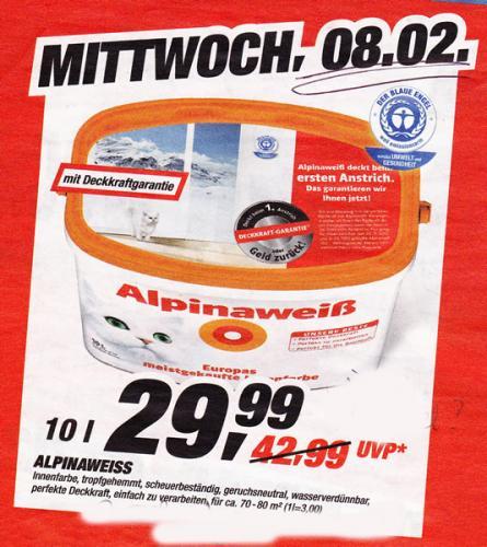 """Alpinaweiß """"mit der Katze"""" mit Deckkraftgarantie NUR heute bei TOOM € 29,99"""