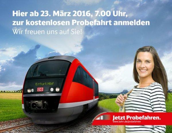 1600 Gratis Bahn Fahrten zwischen Würzburg-Erfurt und Erfurt-Nordhausen (je 800), ab 23.03.2016 buchen - zwischen 01.04-10.04 reisen