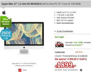 (redcoon) Apple iMac 27'' mit 5K Display für 1649€ (VGL: 1838€)