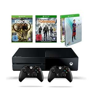 Amazon - Xbox One 500 GB Konsole (2015) + FIFA 16 - Deluxe Edition inkl. Steelbook + Far Cry Primal (100% Uncut) - Special Edition + Tom Clancy's The Division + Xbox One Wireless Controller (2015)