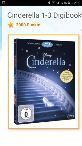 ABGELAUFEN [disneymoviesandmore] gibt es gerade eine neue Prämie! Cinderella 1-3 Digibook- BLU-ray für 2000 Punkte