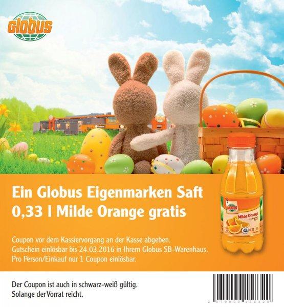 """[GLOBUS] Gratis-Coupon für Globus Orangensaft """"Milde Orange"""" 0,25l mit 100% Fruchtgehalt"""