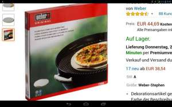 Weber Pizzastein rund, 36,5 cm WHD amazon