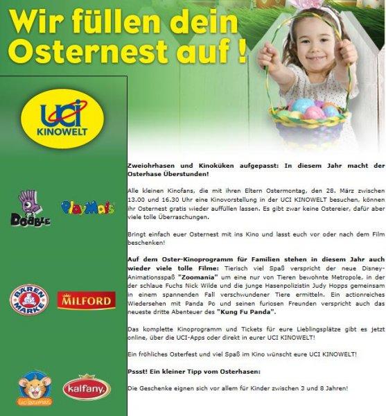 Gratis Osternest für Kinder bei Kinobesuch im UCI am Ostermontag