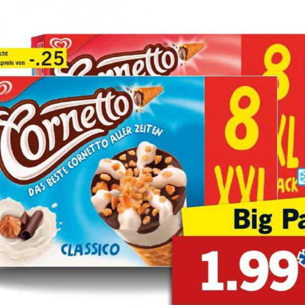 Cornetto Eis XXL Big Pack nun für 1,99€ das sind nur 25 Cent pro Stück bei [Lidl]