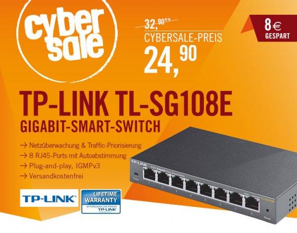 [cyberport] TP-Link TL-SG108E 8-Port Gigabit Easy Smart Switch (10/100/1000M RJ45 ports, lüfterloses Passivkühlkonzept)