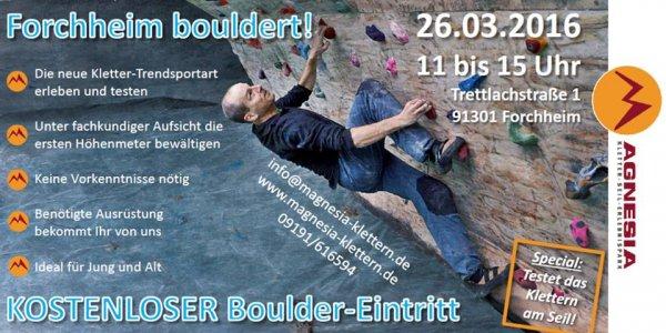 [Lokal Forchheim] Kostenloser Boulder-Eintritt Kletterhalle Magnesia Forchheim