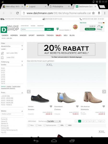 Deichmann Rabatt Aktion 20% auf bereits reduzierte Artikel im Sale.