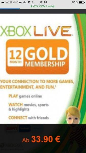 [G2A] Xbox Live Gold 12Monate 33,90€
